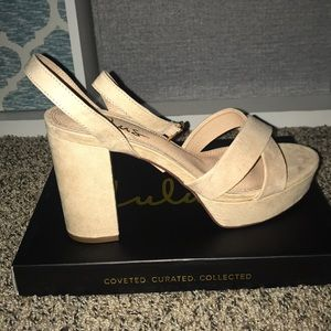 BRAND NEW: Nude Suede Ankle Strap Heel